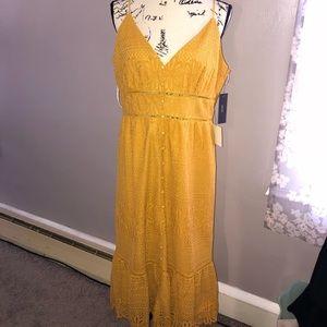 Lulu's mustard yellow lace midi dress XL NWT